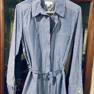 Calvin Klein pinstripe shirt dress! Gorgeous